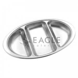 Deep Oval Tray 3 Divide
