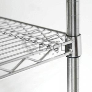 Chrome-plated wire shelving units