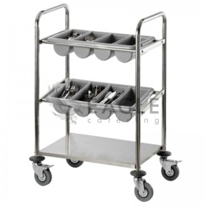 Cutlery Trolley with 2 PP Dishes